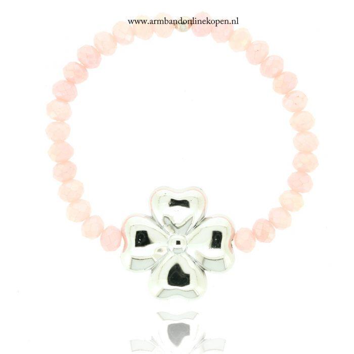 Klavertje Vier Armband Bloemblaadjes van Liefde Oud Roze