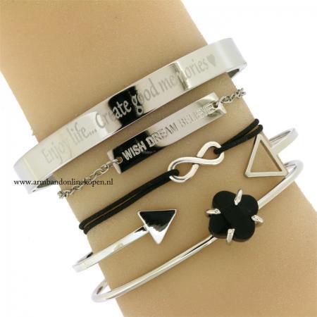 armband infinity zilver zwart kopen