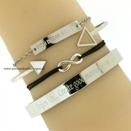 infinity armbandjes zilver zwart goedkoop kopen