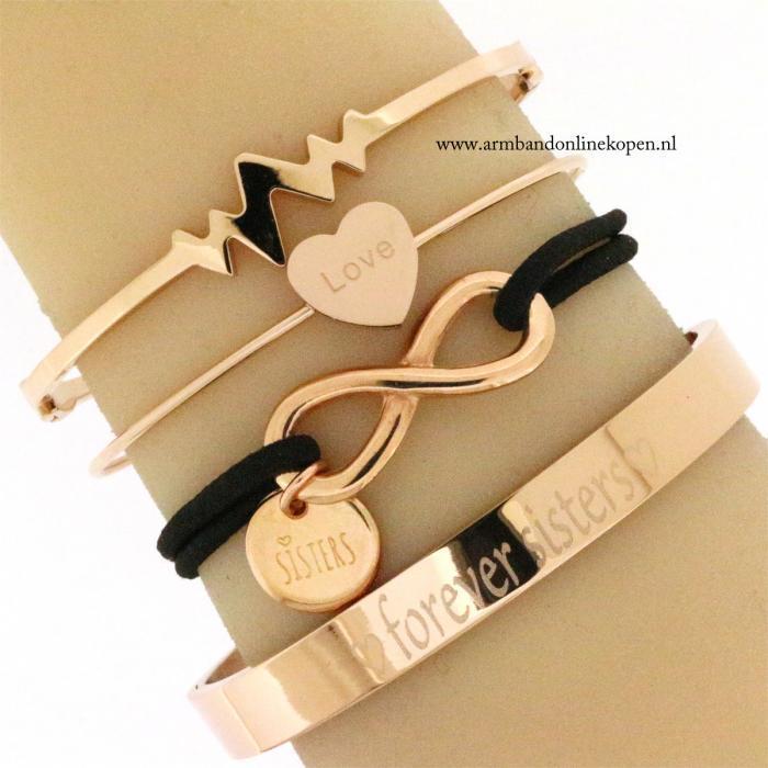 eigen tekst armband forever sisters zussen armband