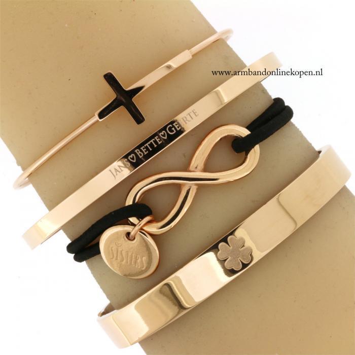 naam armband zussen armband staal