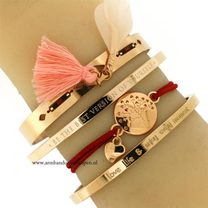 quote armband be the best version of yourself staal rose goud
