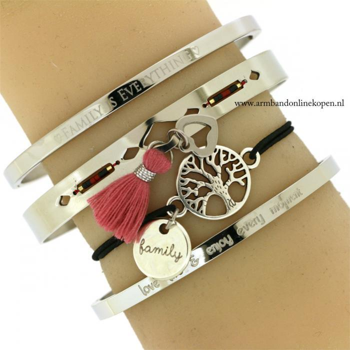 Armband Stamboom family bedel zilver