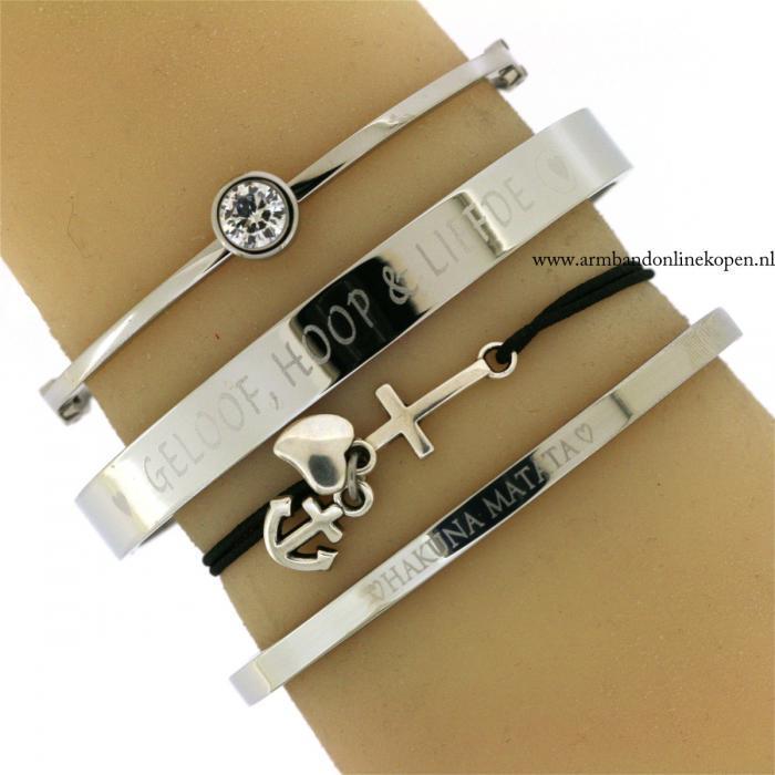 Geloof Hoop en Liefde Quote Armband Zilver Staal