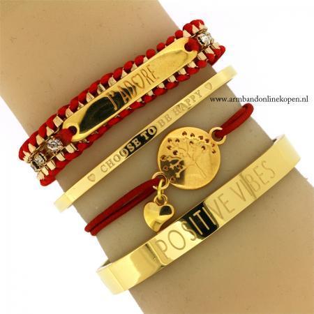 Liefdesboom Armband Goud Rood