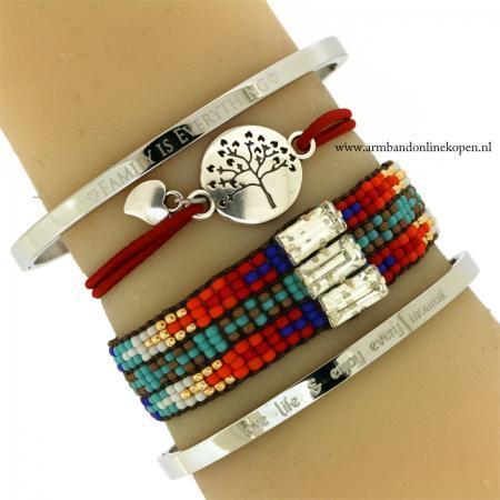 Liefdesboom Armband Zilver Rood