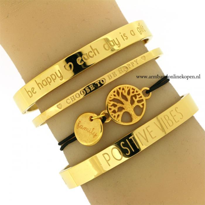 armband Stamboom family bedel goud