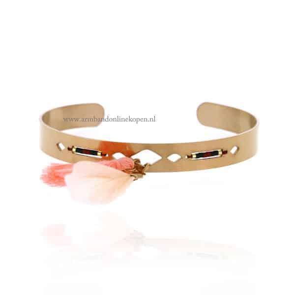 armband kwastje veer rose goud staal