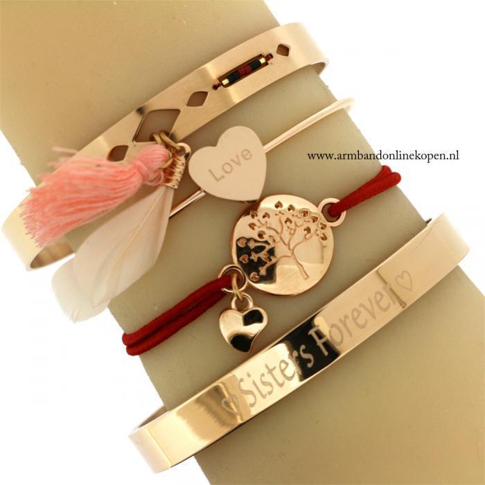 liefdes armband levensboom eigen tekst zussen armband staal