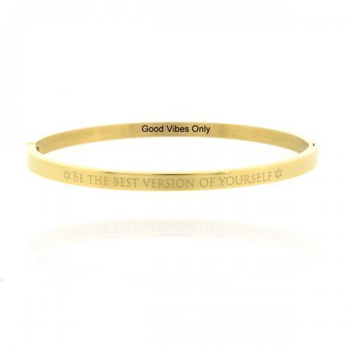 Armband met eigen tekst eigen quote Goud 4 mm