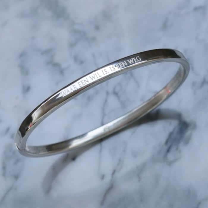 925 zilver armband eigen tekst waar een will is is een weg