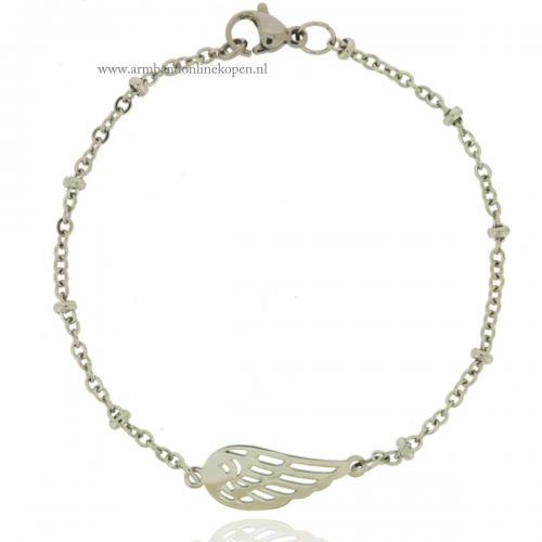 Engel Vleugel Armbandje Staal zilver
