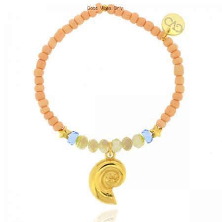 Ibiza Kralen Armband met goud schelpje