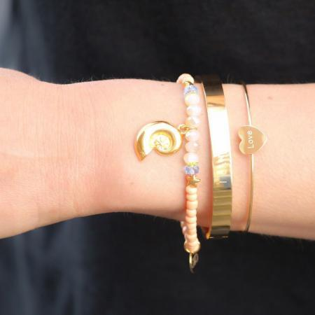 armband met schelp en zeester goud