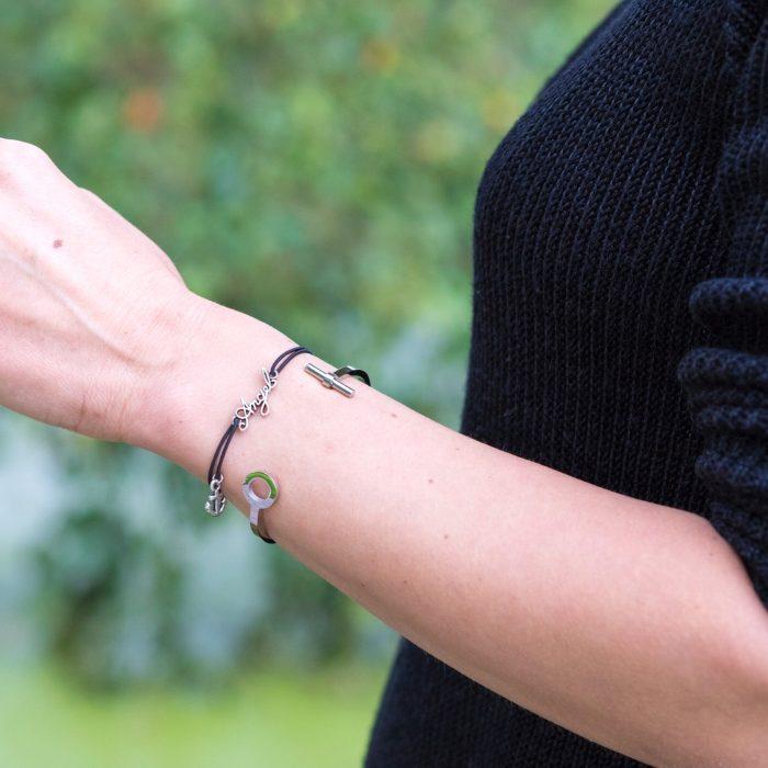 armband zilver angel tekst en ankertje bedel