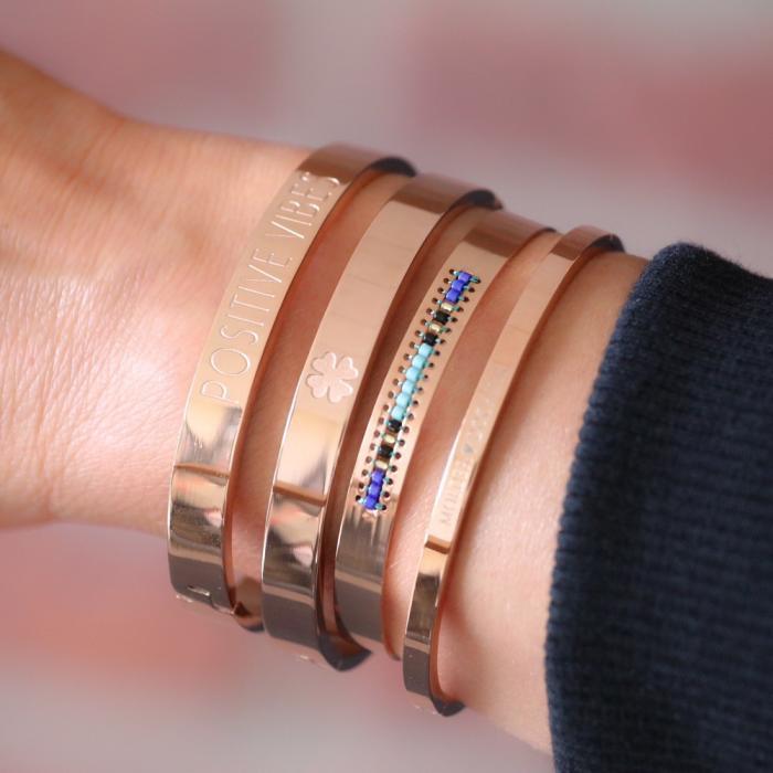 armbanden staal met cralen armparty rose goud