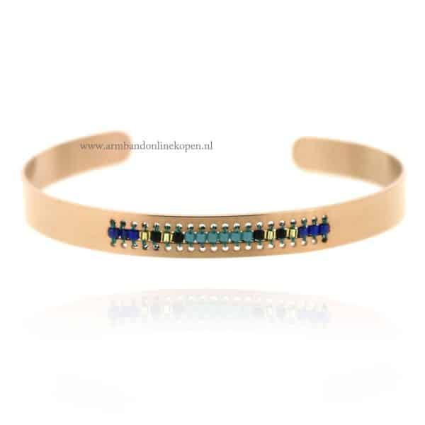 hippe armband staal rose goud met kraaltjes