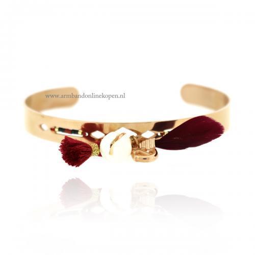 ibiza armband staal rose goud met schelpje kwastje en veertje
