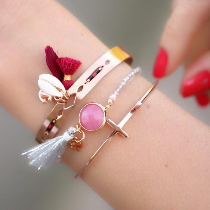roestvrij staal armbanden rose goud ibiza stijl