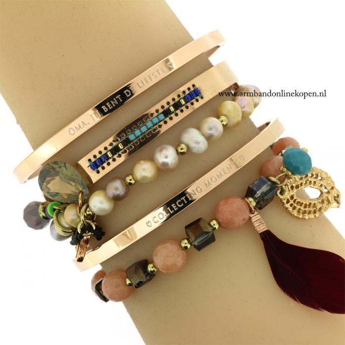 stalen armbanden met quotes en kralen armbandjes