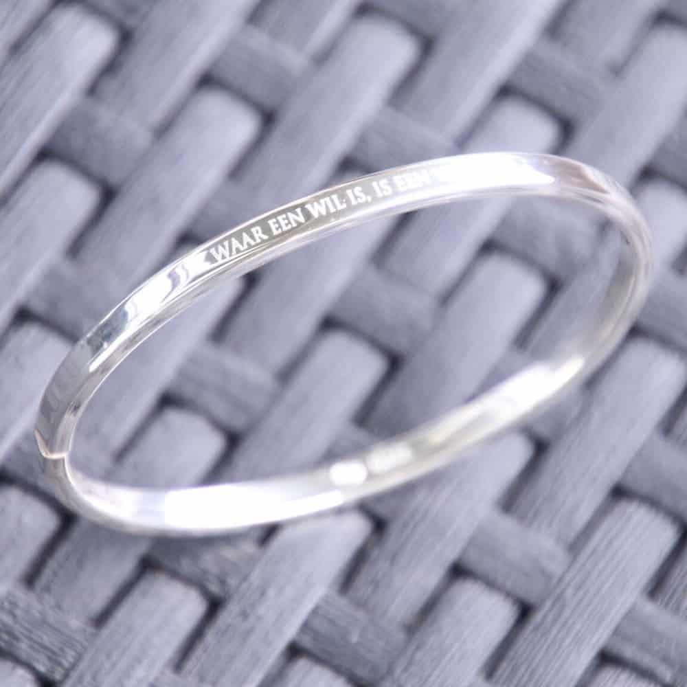 Slavenarmband zilver met tekst