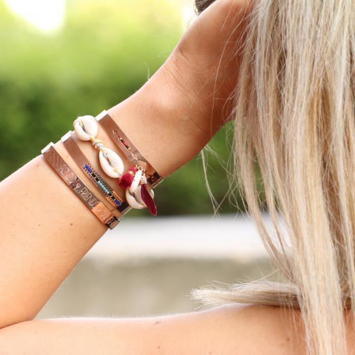 ibiza armbandje met schepjes rose goud stalen armbanden