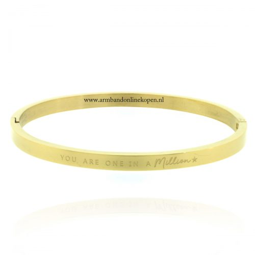 armband staal met quote you are one in a million goud 4 mm