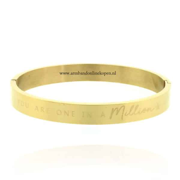 armband staal met quote you are one in a million goud