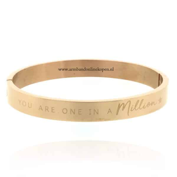 armband staal met quote you are one in a million rose goud