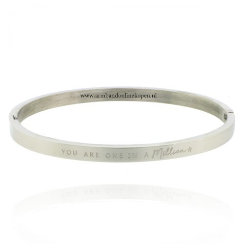 armband staal met quote you are one in a million zilver 4 mm