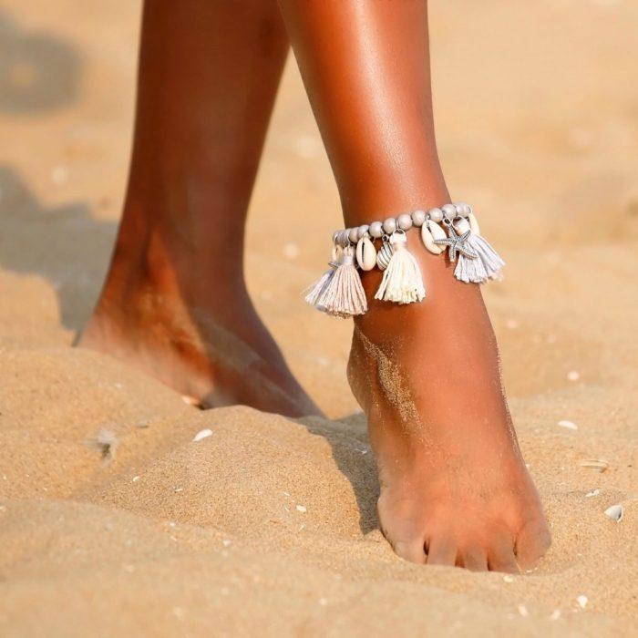 hippe ibiza enkelbandje met zeester en schelpen