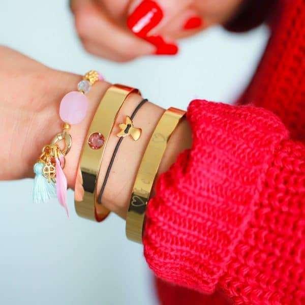 beschermengeltje armbandje rose goud met naam armband van staal