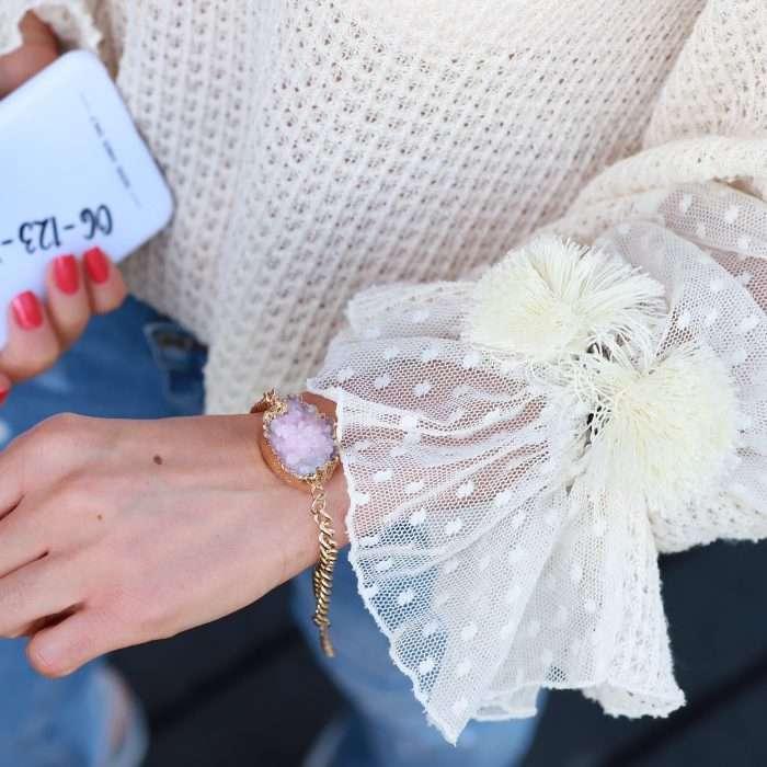 armband met natuur steen roze goud