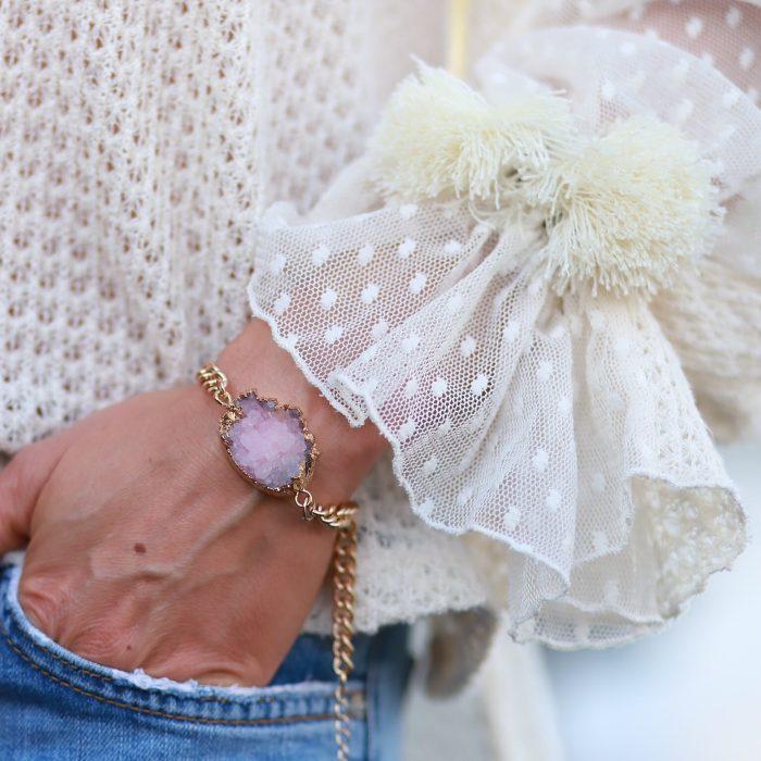 armband met natuur steen roze quartz goud
