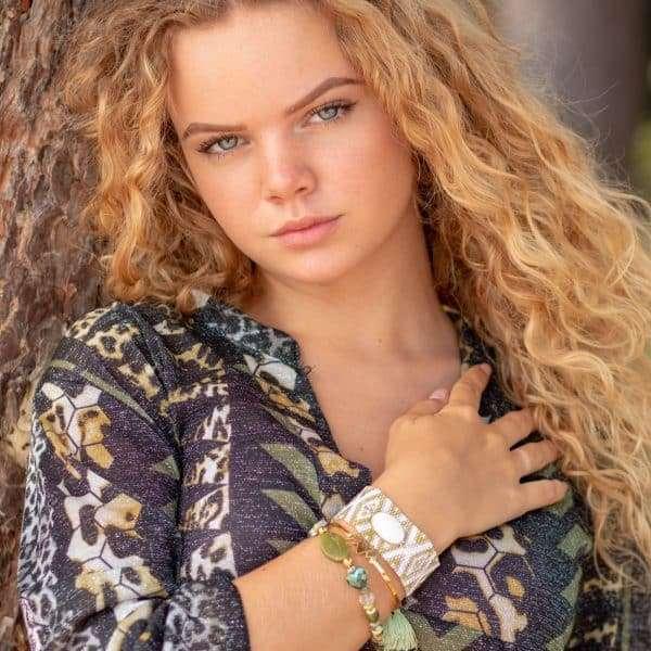 armband miyuki kraaltjes en mosgroen steen armband