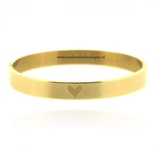 armband staal hartje detail goud