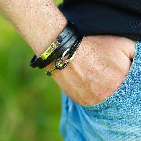 leer armband mannen met roestvrij staal