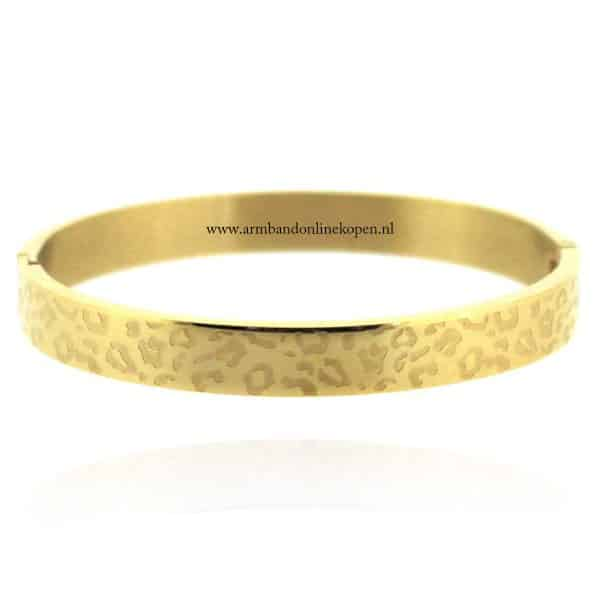 stalen armband met panterprint goud