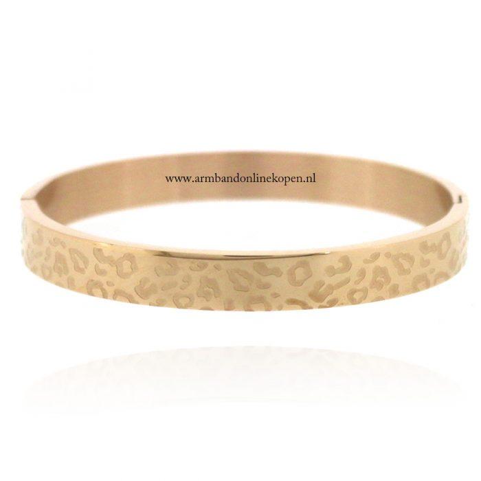 stalen armband met panterprint rose goud