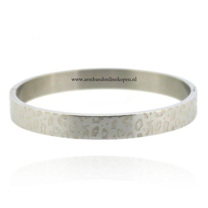 stalen armband met panterprint zilver