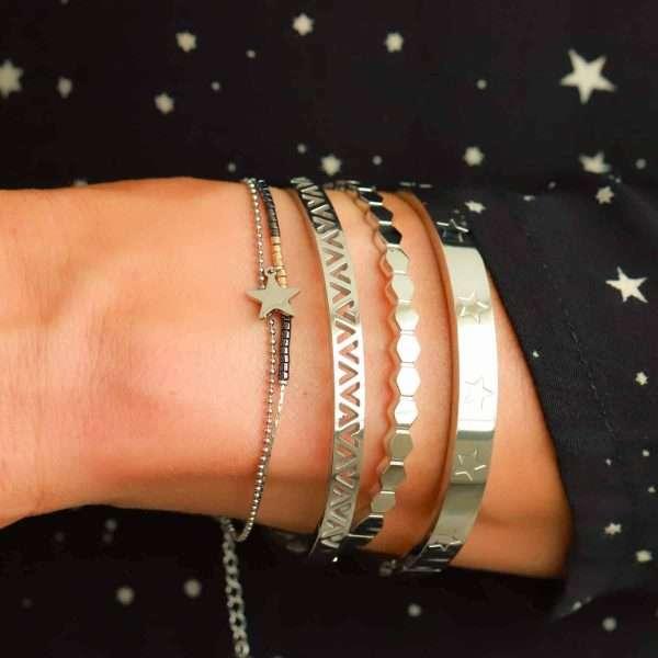 roestvrij staal armbanden met sterretjes