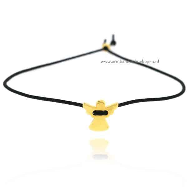 Beschermengeltje Armband goud zwart elastiek