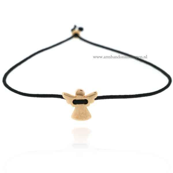 Beschermengeltje Armband rose goud zwart elastiek