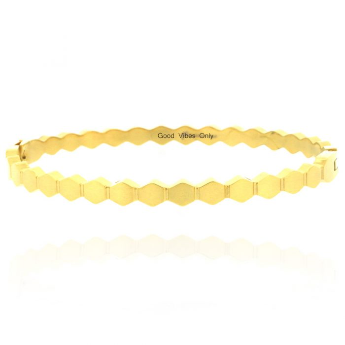 armband hexagon patroon staal goud