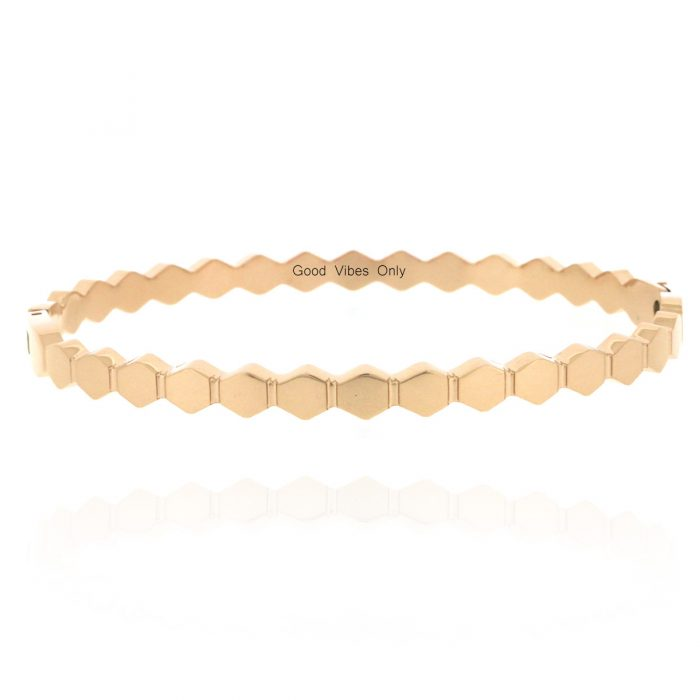 armband hexagon patroon staal rose goud