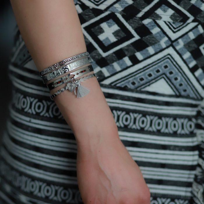 armbanden staal v vorm zilver