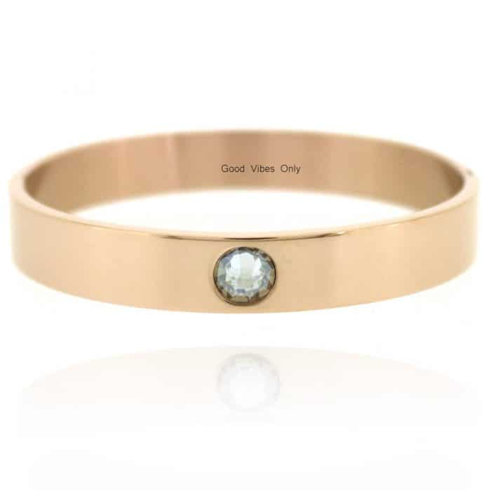 Geboortesteen Armband April Diamant Rose Goud