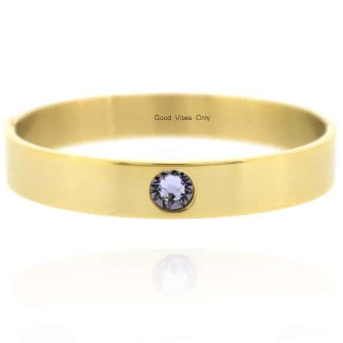 Geboortesteen Armband Juni Licht Amethist Goud