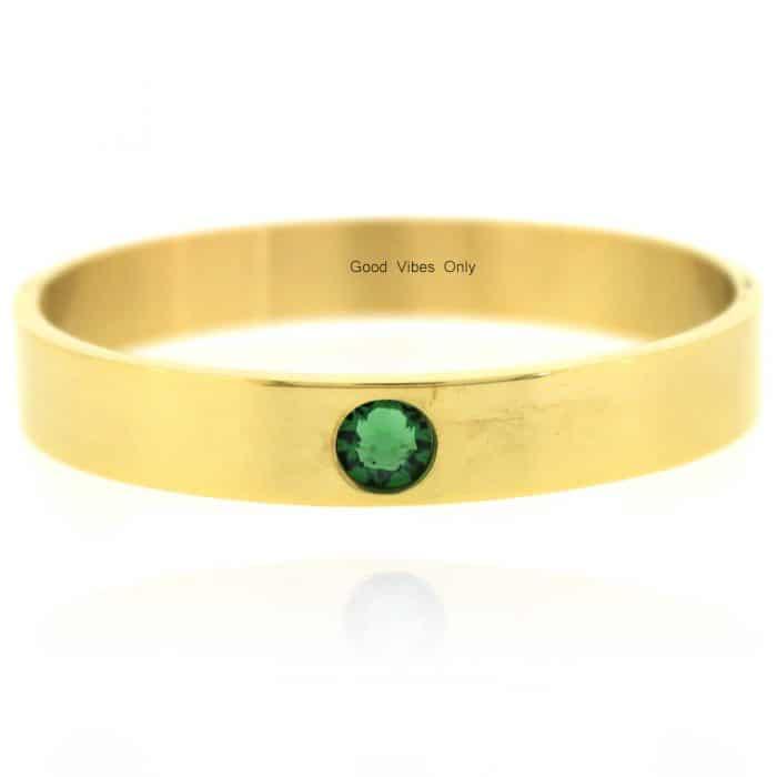 Geboortesteen Armband Mei Smaragd Goud