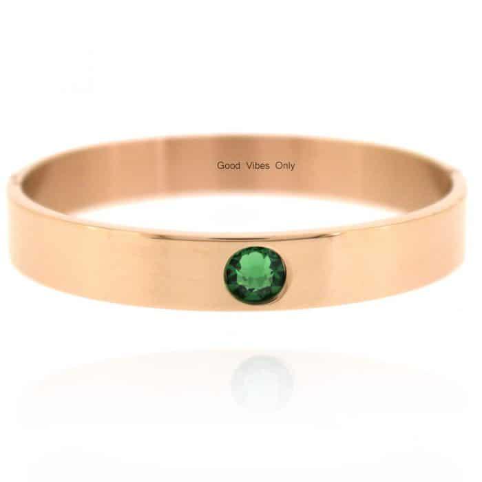 Geboortesteen Armband Mei Smaragd Rose Goud